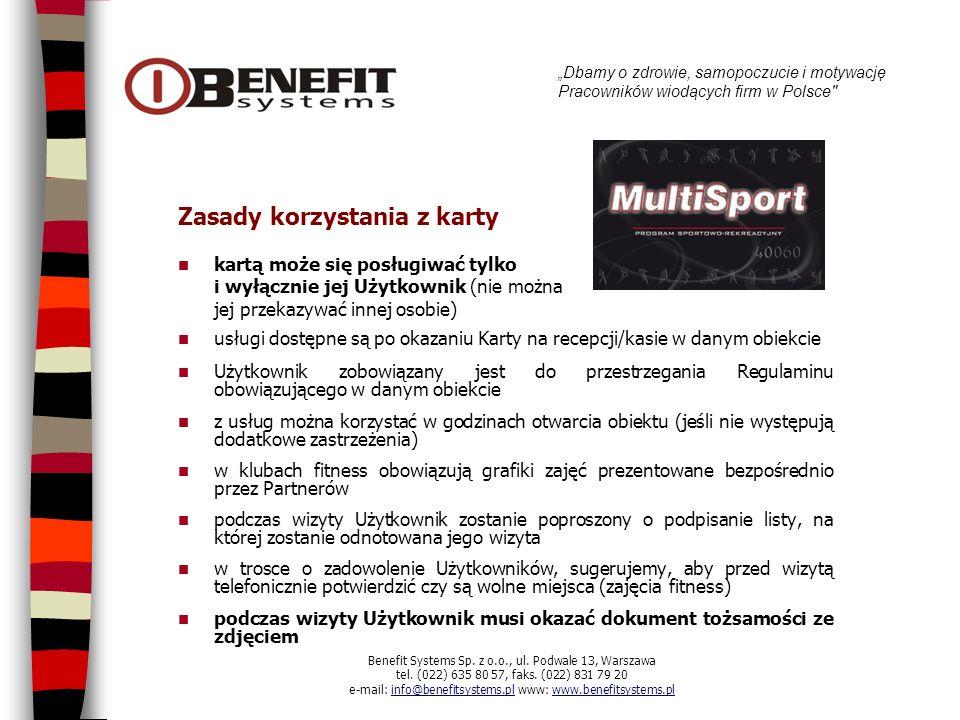 Karta rabatowa Benefit (usługa dodatkowa) Benefit Systems stworzyła Kartę BENEFIT, aby mogli Państwo korzystać z wysokiej jakości usług, płacąc mniej.