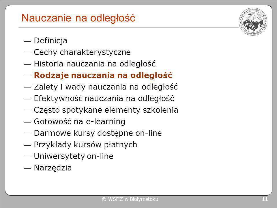 © WSFiZ w Białymstoku 11 Nauczanie na odległość Definicja Cechy charakterystyczne Historia nauczania na odległość Rodzaje nauczania na odległość Zalet