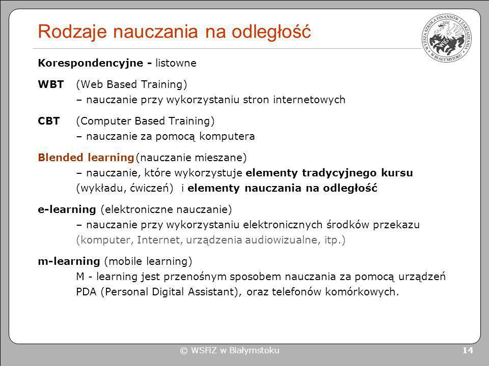 © WSFiZ w Białymstoku 14 Rodzaje nauczania na odległość Korespondencyjne - listowne WBT (Web Based Training) – nauczanie przy wykorzystaniu stron inte