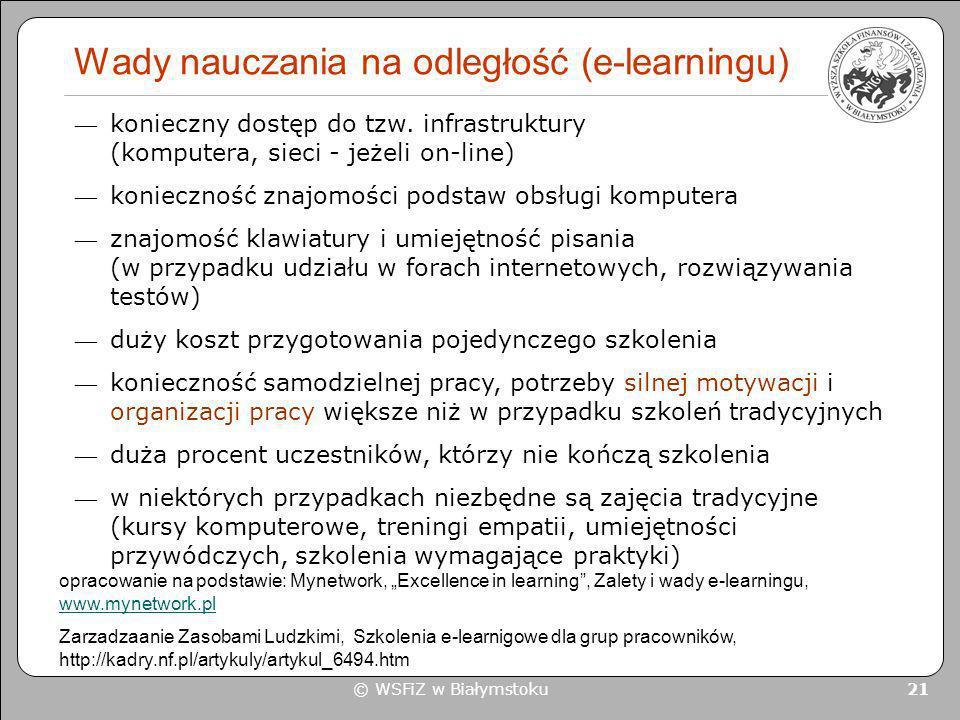 © WSFiZ w Białymstoku 21 Wady nauczania na odległość (e-learningu) opracowanie na podstawie: Mynetwork, Excellence in learning, Zalety i wady e-learni