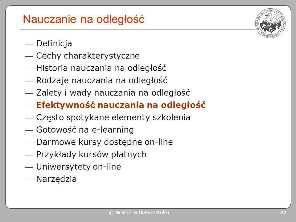 © WSFiZ w Białymstoku 22 Nauczanie na odległość Definicja Cechy charakterystyczne Historia nauczania na odległość Rodzaje nauczania na odległość Zalet