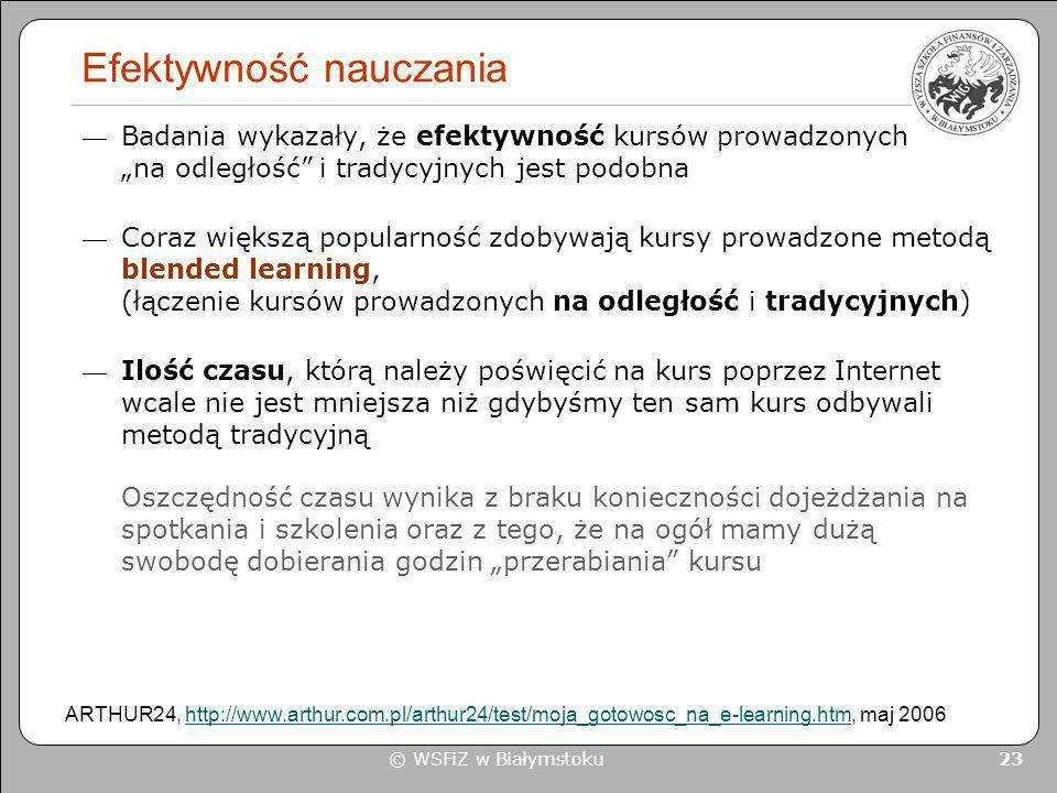 © WSFiZ w Białymstoku 23 Efektywność nauczania Badania wykazały, że efektywność kursów prowadzonych na odległość i tradycyjnych jest podobna Coraz wię