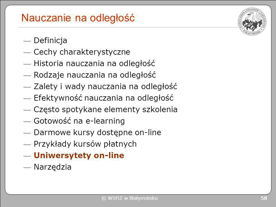 © WSFiZ w Białymstoku 58 Nauczanie na odległość Definicja Cechy charakterystyczne Historia nauczania na odległość Rodzaje nauczania na odległość Zalet