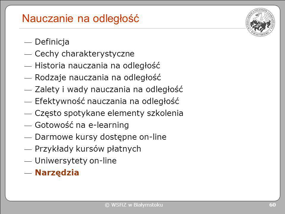 © WSFiZ w Białymstoku 60 Nauczanie na odległość Definicja Cechy charakterystyczne Historia nauczania na odległość Rodzaje nauczania na odległość Zalet