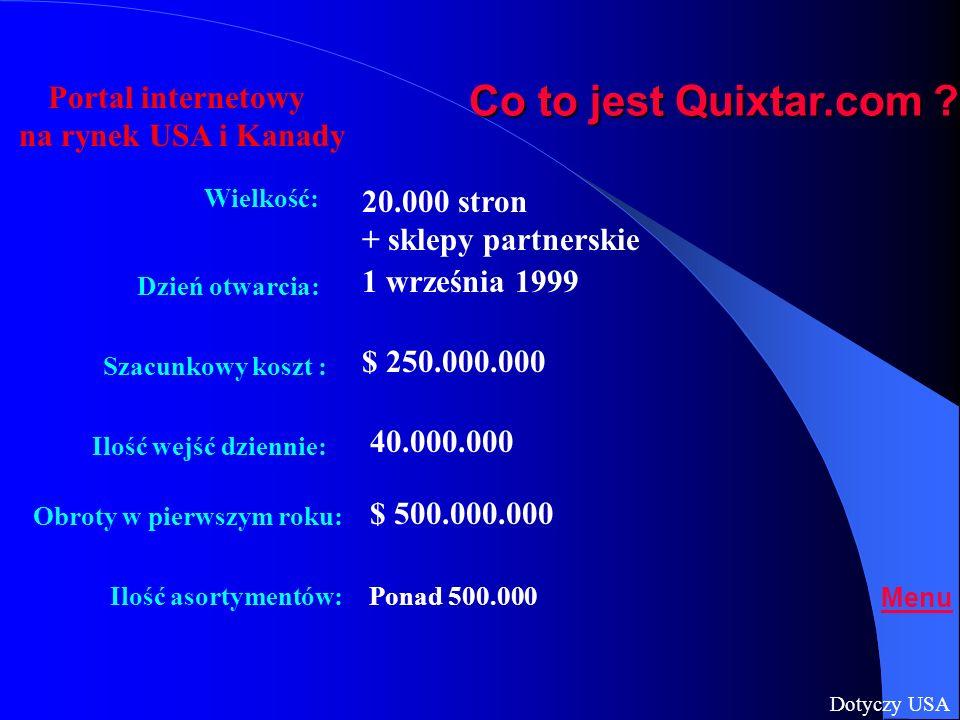 Właściciele: Co to jest Quixtar.com ? Oprogramowanie: Strona wizualna: Sprzęt komputerowy: Transport: Rodziny DeVos i VanAndel Fry Multimedia, C-E Com