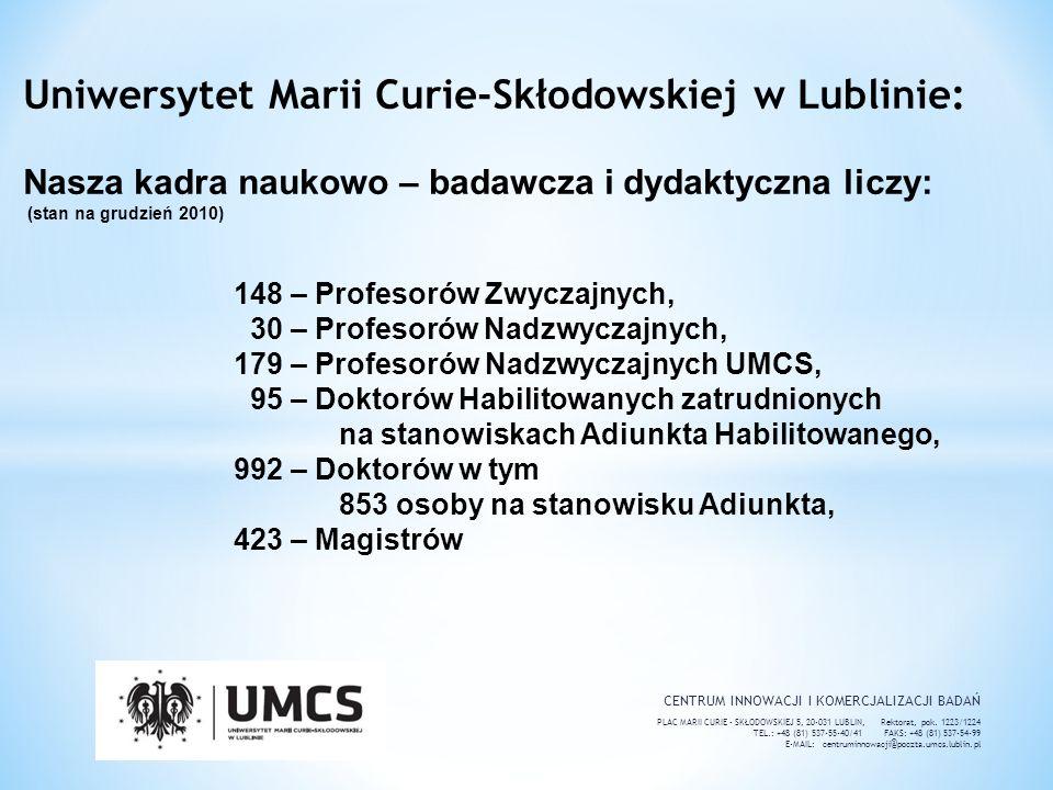 CENTRUM INNOWACJI I KOMERCJALIZACJI BADAŃ PLAC MARII CURIE - SKŁODOWSKIEJ 5, 20-031 LUBLIN, Rektorat, pok. 1223/1224 TEL.: +48 (81) 537-55-40/41 FAKS: