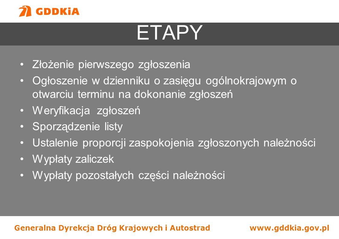 Generalna Dyrekcja Dróg Krajowych i Autostradwww.gddkia.gov.pl ETAPY Złożenie pierwszego zgłoszenia Ogłoszenie w dzienniku o zasięgu ogólnokrajowym o
