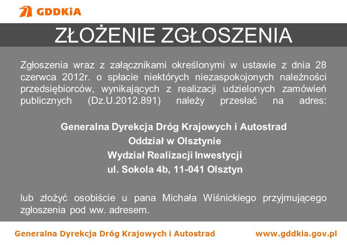 Generalna Dyrekcja Dróg Krajowych i Autostradwww.gddkia.gov.pl Zgłoszenia wraz z załącznikami określonymi w ustawie z dnia 28 czerwca 2012r. o spłacie