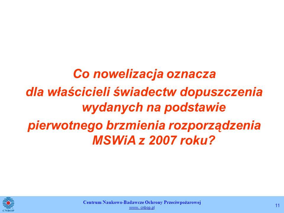 Centrum Naukowo-Badawcze Ochrony Przeciwpożarowej www. cnbop.pl 11 Co nowelizacja oznacza dla właścicieli świadectw dopuszczenia wydanych na podstawie