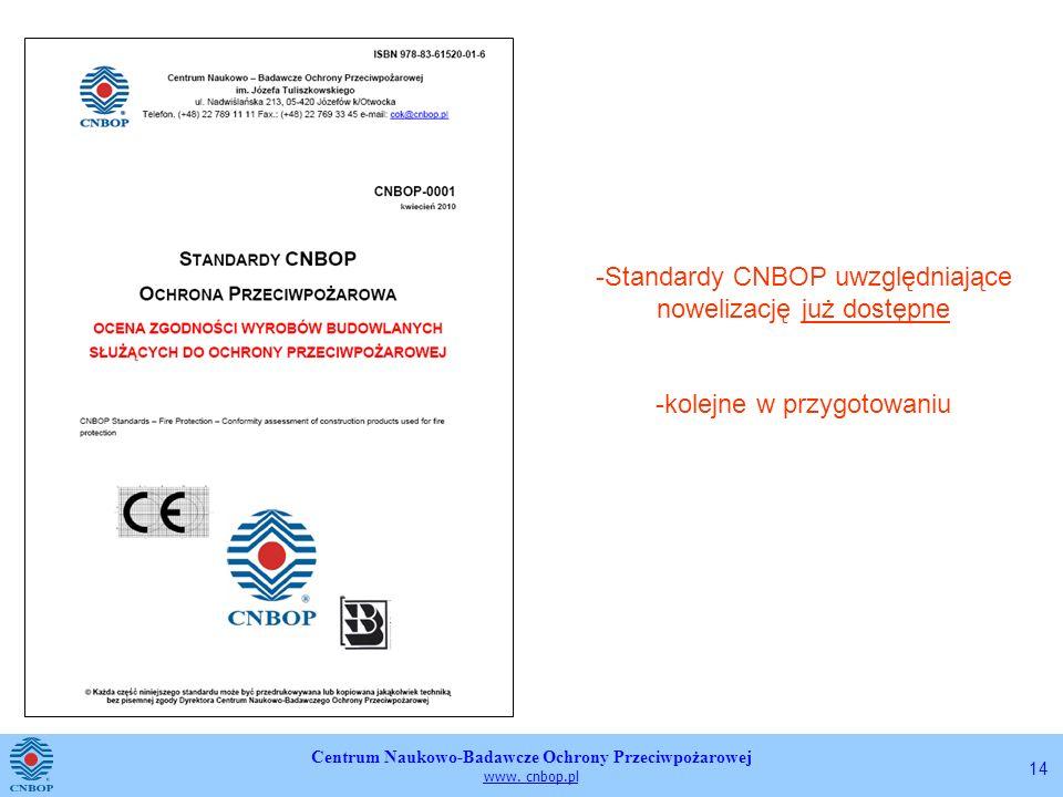 Centrum Naukowo-Badawcze Ochrony Przeciwpożarowej www. cnbop.pl 14 -Standardy CNBOP uwzględniające nowelizację już dostępne -kolejne w przygotowaniu