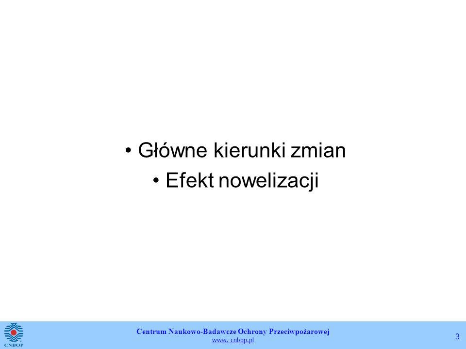 Centrum Naukowo-Badawcze Ochrony Przeciwpożarowej www. cnbop.pl 3 Główne kierunki zmian Efekt nowelizacji