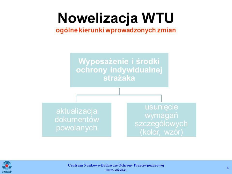 Centrum Naukowo-Badawcze Ochrony Przeciwpożarowej www. cnbop.pl 4 Nowelizacja WTU ogólne kierunki wprowadzonych zmian Wyposażenie i środki ochrony ind
