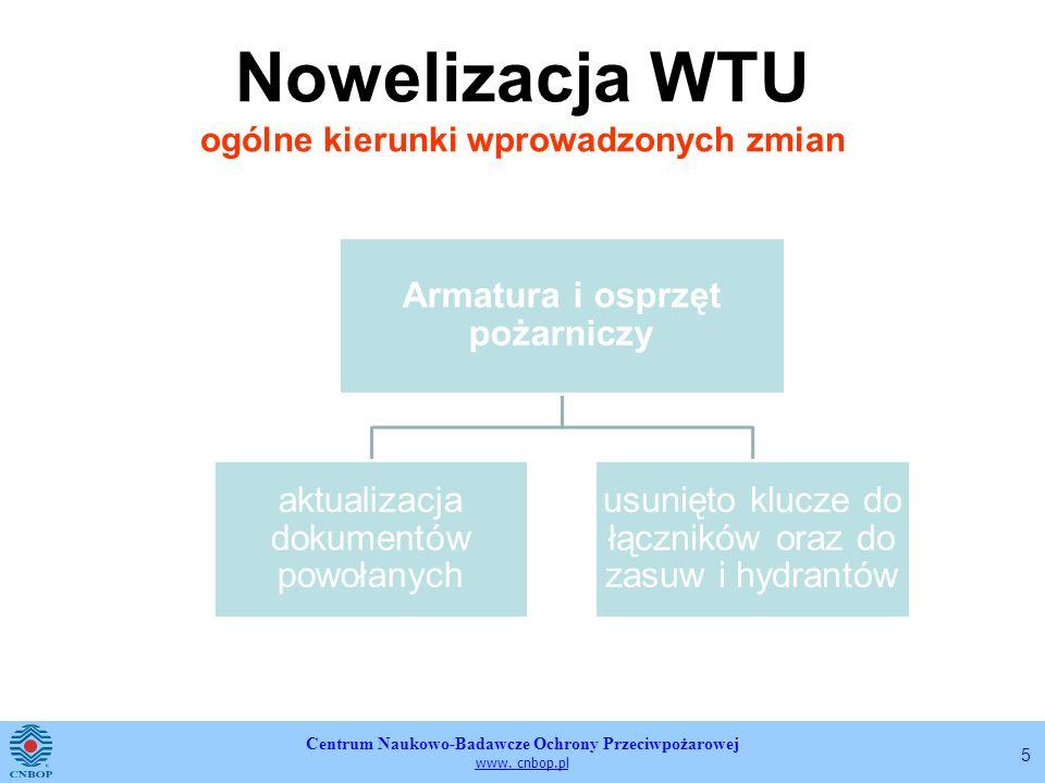 Centrum Naukowo-Badawcze Ochrony Przeciwpożarowej www. cnbop.pl 5 Nowelizacja WTU ogólne kierunki wprowadzonych zmian Armatura i osprzęt pożarniczy ak