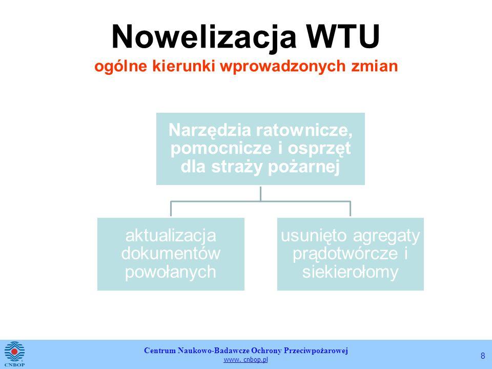 Centrum Naukowo-Badawcze Ochrony Przeciwpożarowej www. cnbop.pl 8 Nowelizacja WTU ogólne kierunki wprowadzonych zmian Narzędzia ratownicze, pomocnicze