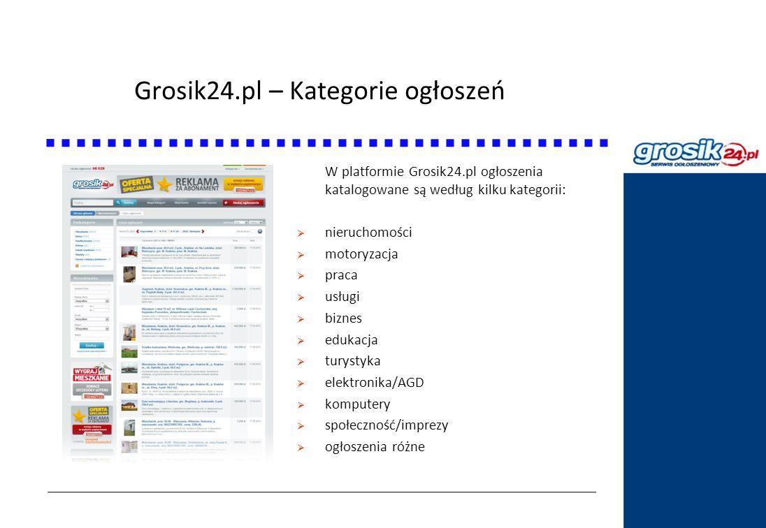 Grosik24.pl – Kategorie ogłoszeń Statystyki DziennikPolski24.pl W platformie Grosik24.pl ogłoszenia katalogowane są według kilku kategorii: nieruchomo