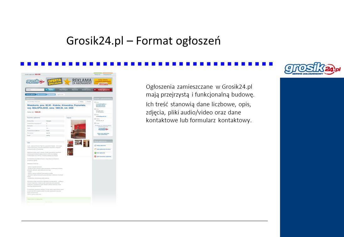 Grosik24.pl – Format ogłoszeń Statystyki DziennikPolski24.pl Ogłoszenia zamieszczane w Grosik24.pl mają przejrzystą i funkcjonalną budowę. Ich treść s