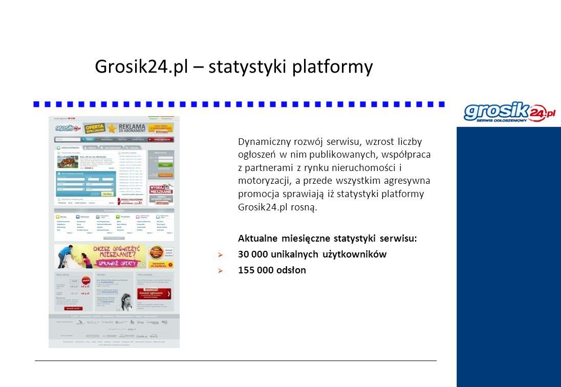 Grosik24.pl – statystyki platformy Statystyki DziennikPolski24.pl Dynamiczny rozwój serwisu, wzrost liczby ogłoszeń w nim publikowanych, współpraca z