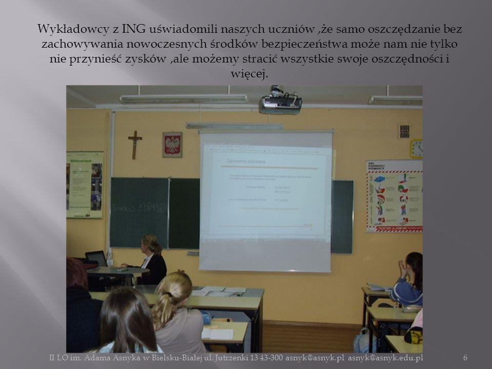 Wykładowcy z ING uświadomili naszych uczniów,że samo oszczędzanie bez zachowywania nowoczesnych środków bezpieczeństwa może nam nie tylko nie przynieś