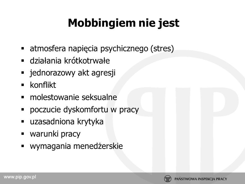www.pip.gov.pl Utrudniające komunikowanie się Wpływające negatywnie na relacje Naruszające wizerunek Uderzające w pozycje zawodową Uderzające w zdrowie Zachowania mobbingowe
