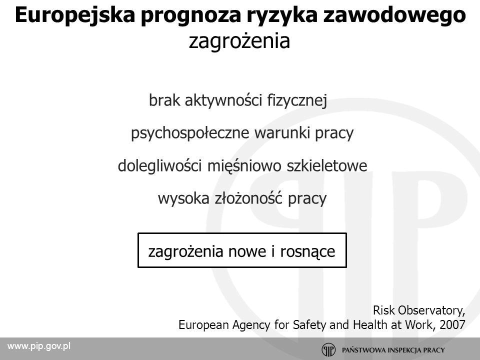 www.pip.gov.pl Prawdopodobieństwo wystąpienia niepożądanych zdarzeń związanych z wykonywaną pracą, powodujące straty, w szczególności wystąpienie u pracowników niekorzystnych skutków zdrowotnych w wyniku zagrożeń zawodowych występujących w środowisku pracy lub sposobu wykonywania pracy.