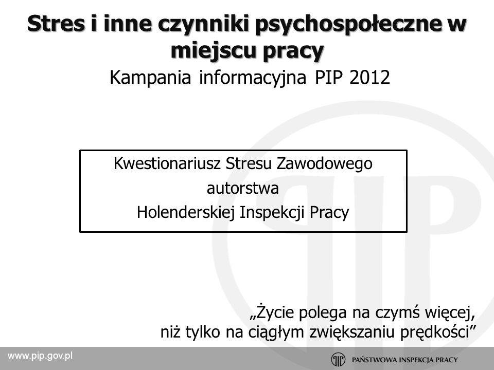 www.pip.gov.pl Diagnoza Opracowanie wyników Szkolenie (2) Spotkanie (1) projektowe Dobre praktyki Kampania informacyjna PIP 2012