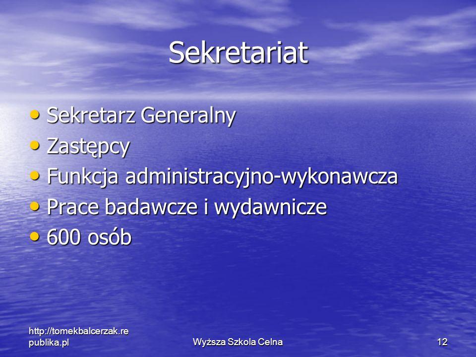 http://tomekbalcerzak.re publika.plWyższa Szkola Celna12 Sekretariat Sekretarz Generalny Sekretarz Generalny Zastępcy Zastępcy Funkcja administracyjno