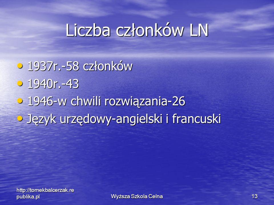 http://tomekbalcerzak.re publika.plWyższa Szkola Celna13 Liczba członków LN 1937r.-58 członków 1937r.-58 członków 1940r.-43 1940r.-43 1946-w chwili ro