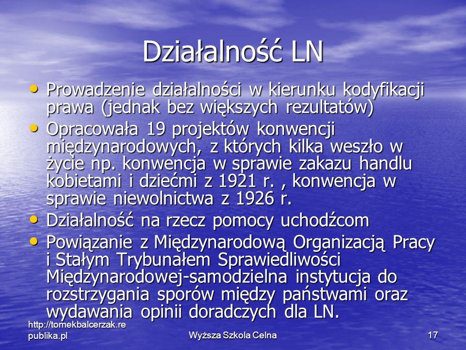 http://tomekbalcerzak.re publika.plWyższa Szkola Celna17 Działalność LN Prowadzenie działalności w kierunku kodyfikacji prawa (jednak bez większych re