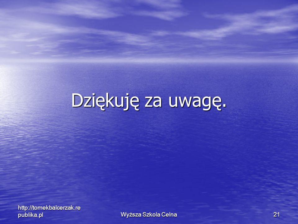Wyższa Szkola Celna 21 http://tomekbalcerzak.re publika.pl Dziękuję za uwagę.