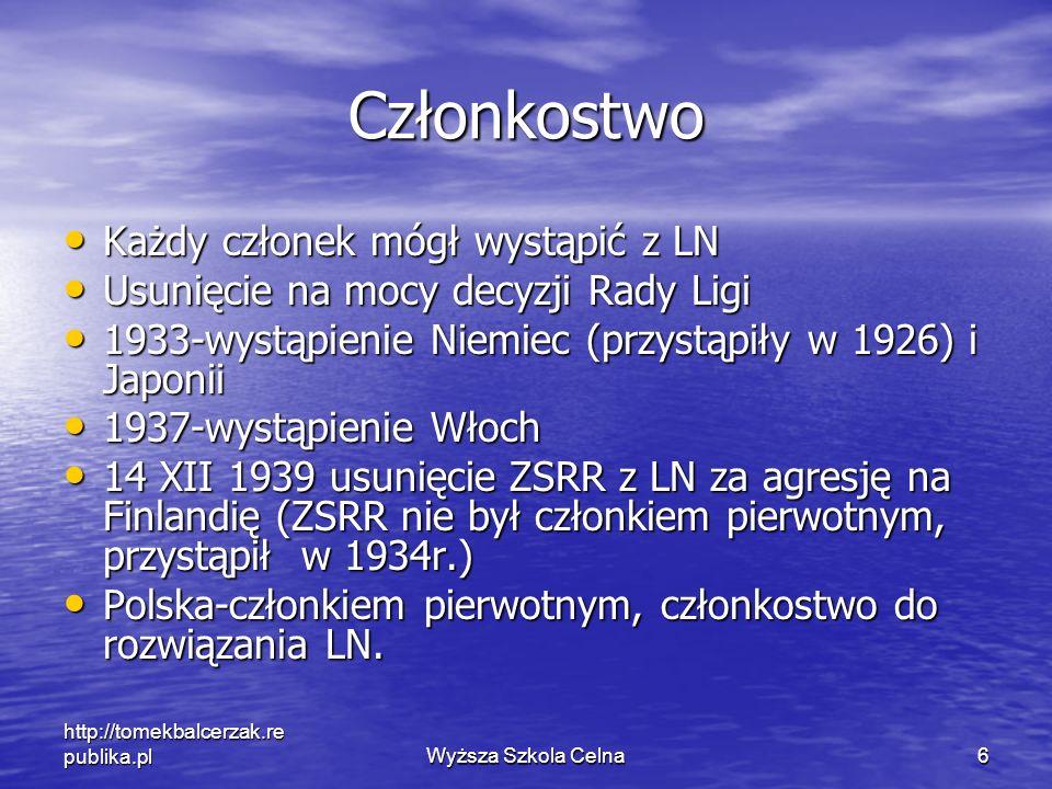 http://tomekbalcerzak.re publika.plWyższa Szkola Celna6 Członkostwo Każdy członek mógł wystąpić z LN Każdy członek mógł wystąpić z LN Usunięcie na moc