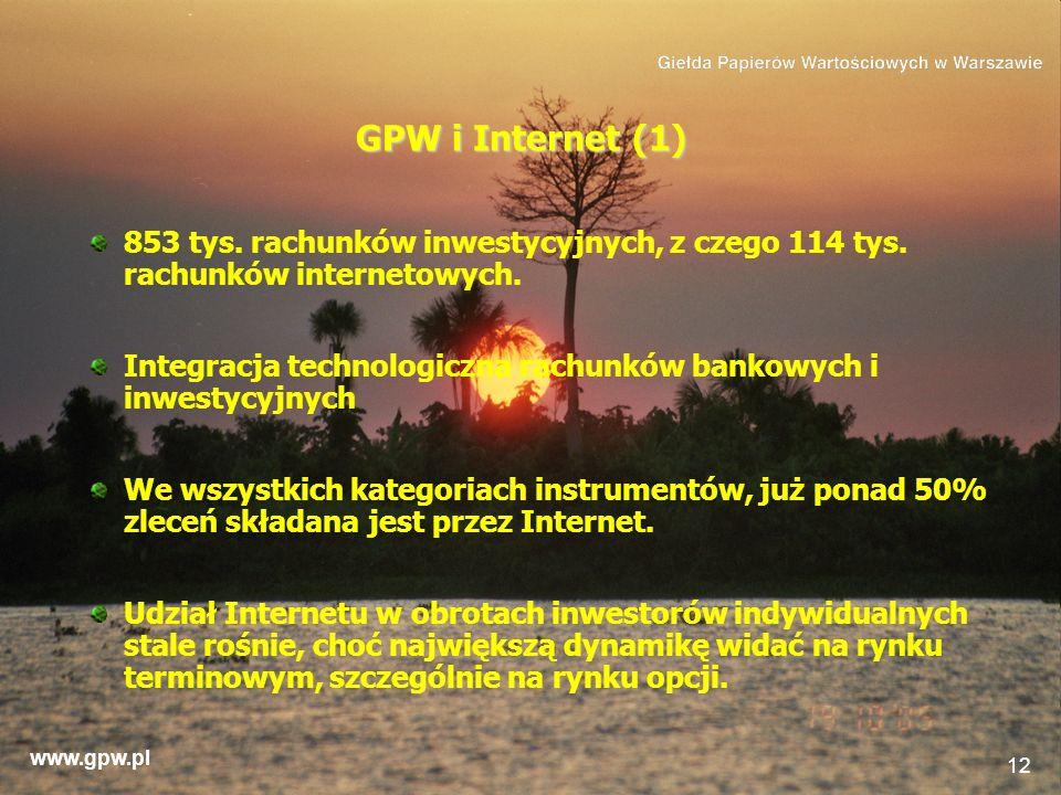 www.gpw.pl 12 GPW i Internet (1) 853 tys. rachunków inwestycyjnych, z czego 114 tys. rachunków internetowych. Integracja technologiczna rachunków bank