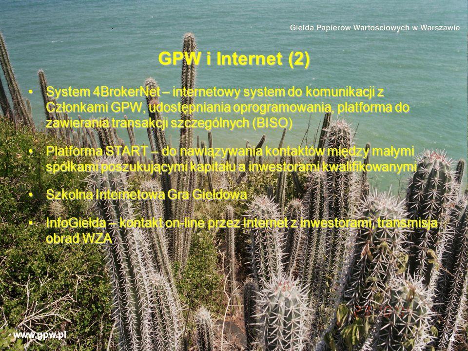 www.gpw.pl 14 GPW i Internet (2) System 4BrokerNet – internetowy system do komunikacji z Członkami GPW, udostępniania oprogramowania, platforma do zaw