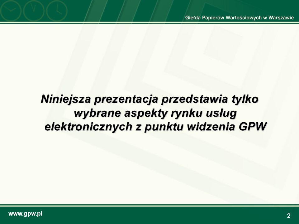 www.gpw.pl 13 Udział Internetu w obrotach giełdowych (wartościowo) inwestorów indywidualnych (%)