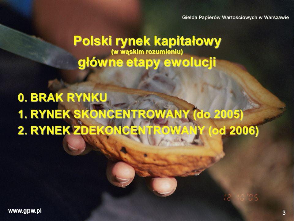 www.gpw.pl 3 Polski rynek kapitałowy (w wąskim rozumieniu) główne etapy ewolucji 0. BRAK RYNKU 1. RYNEK SKONCENTROWANY (do 2005) 2. RYNEK ZDEKONCENTRO