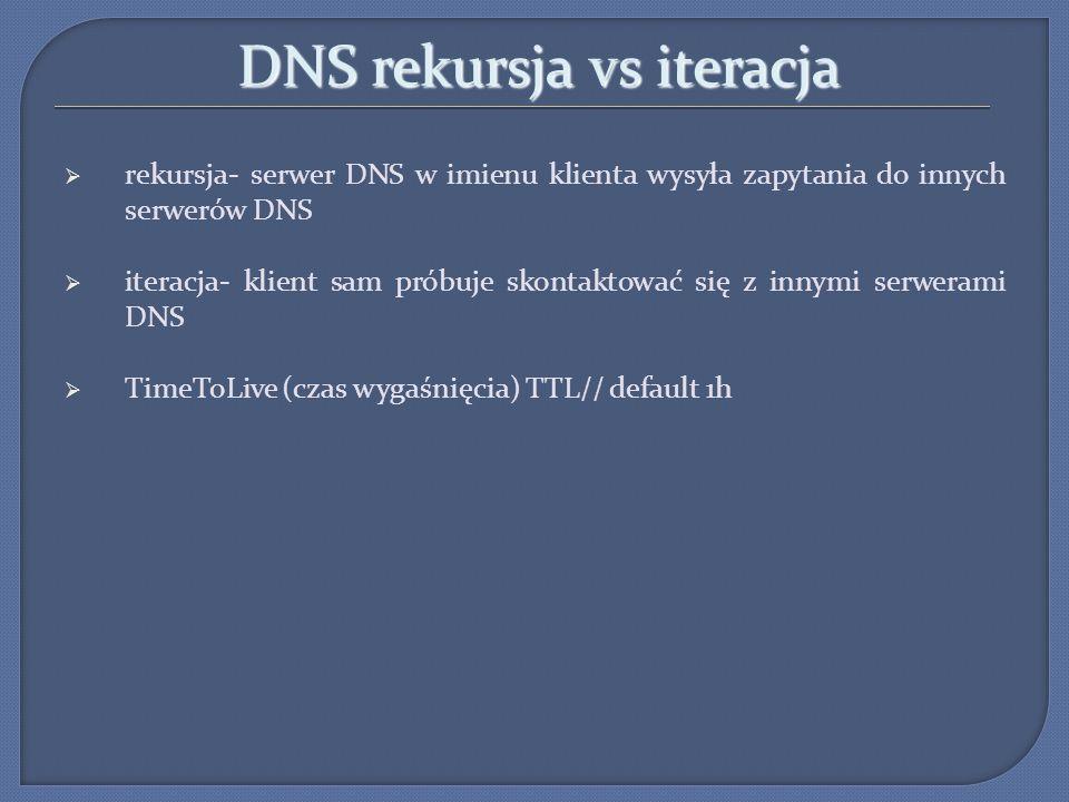 DNS rekursja vs iteracja rekursja- serwer DNS w imienu klienta wysyła zapytania do innych serwerów DNS iteracja- klient sam próbuje skontaktować się z