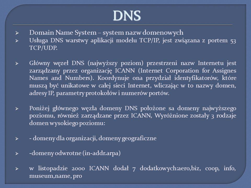 DNS Domain Name System – system nazw domenowych Usługa DNS warstwy aplikacji modelu TCP/IP, jest związana z portem 53 TCP/UDP. Główny węzeł DNS (najwy