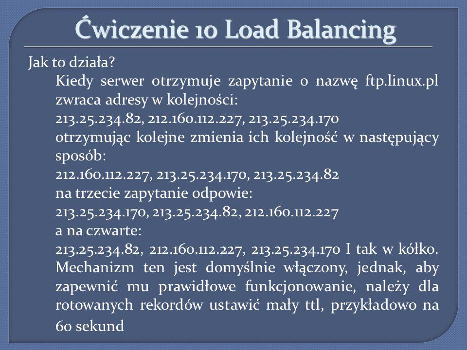 Ćwiczenie 10 Load Balancing Jak to działa? Kiedy serwer otrzymuje zapytanie o nazwę ftp.linux.pl zwraca adresy w kolejności: 213.25.234.82, 212.160.11