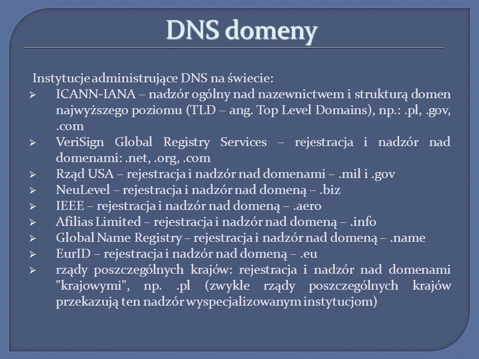 DNS domeny Instytucje administrujące DNS na świecie: ICANN-IANA – nadzór ogólny nad nazewnictwem i strukturą domen najwyższego poziomu (TLD – ang. Top
