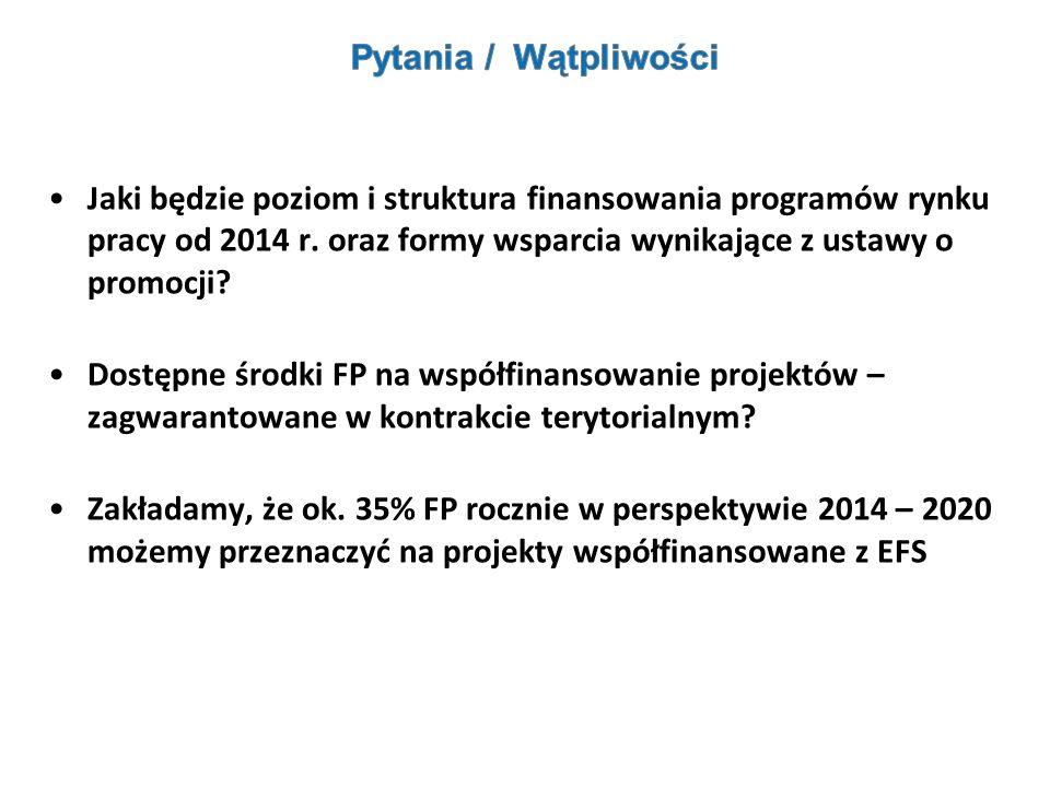 Jaki będzie poziom i struktura finansowania programów rynku pracy od 2014 r. oraz formy wsparcia wynikające z ustawy o promocji? Dostępne środki FP na