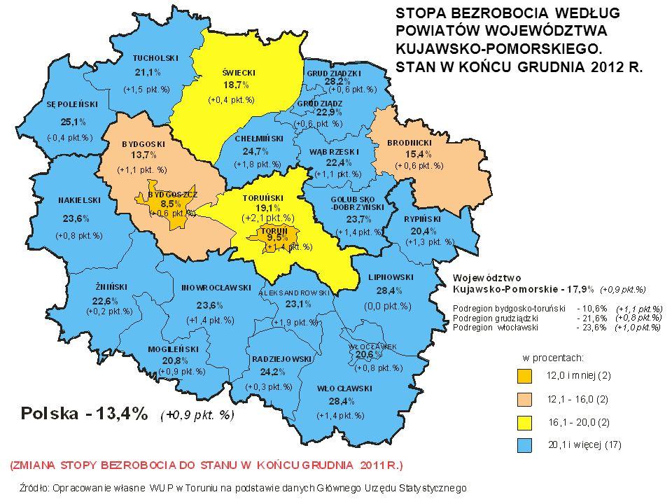 STOPA BEZROBOCIA WEDŁUG POWIATÓW WOJEWÓDZTWA KUJAWSKO-POMORSKIEGO. STAN W KOŃCU GRUDNIA 2012 R.
