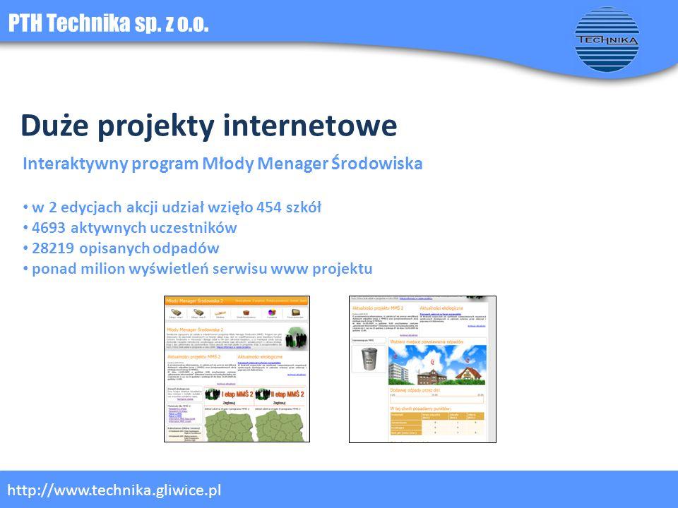 PTH Technika sp. z o.o. http://www.technika.gliwice.pl Duże projekty internetowe Interaktywny program Młody Menager Środowiska w 2 edycjach akcji udzi