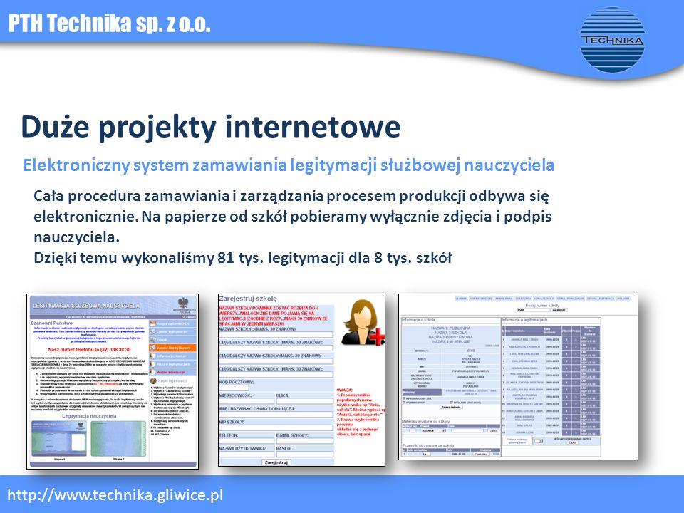 PTH Technika sp. z o.o. http://www.technika.gliwice.pl Duże projekty internetowe Elektroniczny system zamawiania legitymacji służbowej nauczyciela Cał