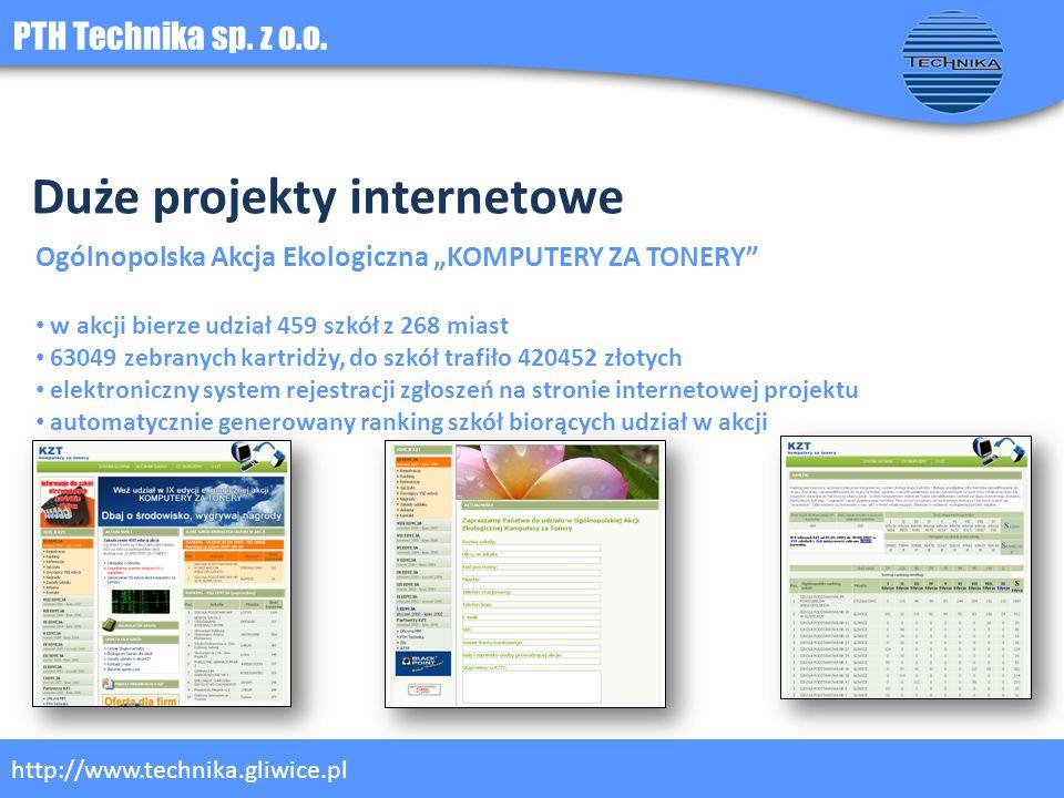 PTH Technika sp. z o.o. http://www.technika.gliwice.pl Duże projekty internetowe Ogólnopolska Akcja Ekologiczna KOMPUTERY ZA TONERY w akcji bierze udz