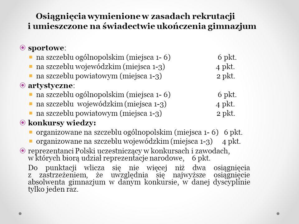 Osiągnięcia wymienione w zasadach rekrutacji i umieszczone na świadectwie ukończenia gimnazjum sportowe: na szczeblu ogólnopolskim (miejsca 1- 6) 6 pk