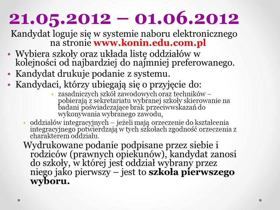 21.05.2012 – 01.06.2012 Kandydat loguje się w systemie naboru elektronicznego na stronie www.konin.edu.com.pl Wybiera szkoły oraz układa listę oddział