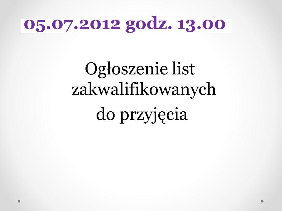 Ogłoszenie list zakwalifikowanych do przyjęcia 05.07.2012 godz. 13.00