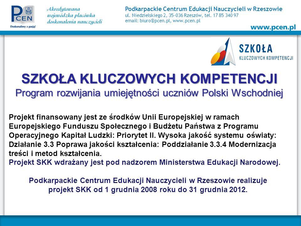 Podkarpackie Centrum Edukacji Nauczycieli w Rzeszowie ul. Niedzielskiego 2, 35-036 Rzeszów, tel. 17 85 340 97 email: biuro@pcen.pl, www.pcen.pl SZKOŁA