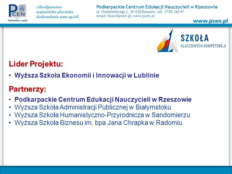 Podkarpackie Centrum Edukacji Nauczycieli w Rzeszowie ul. Niedzielskiego 2, 35-036 Rzeszów, tel. 17 85 340 97 email: biuro@pcen.pl, www.pcen.pl Lider