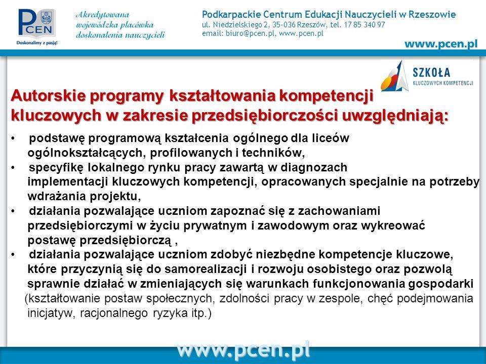 Autorskie programy kształtowania kompetencji kluczowych w zakresie przedsiębiorczości uwzględniają: podstawę programową kształcenia ogólnego dla liceó