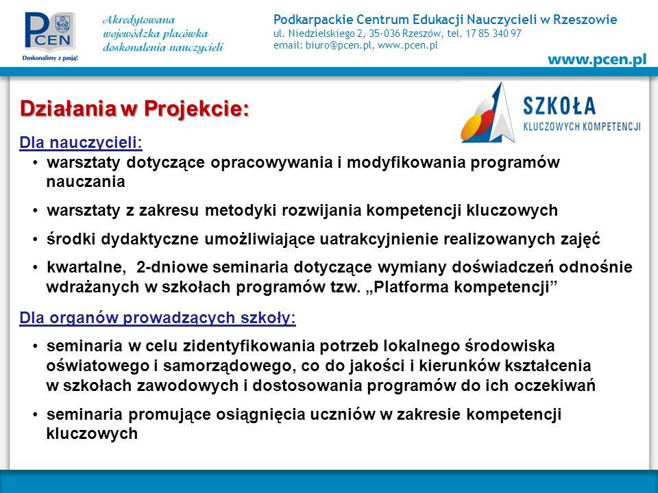 Podkarpackie Centrum Edukacji Nauczycieli w Rzeszowie ul. Niedzielskiego 2, 35-036 Rzeszów, tel. 17 85 340 97 email: biuro@pcen.pl, www.pcen.pl Działa
